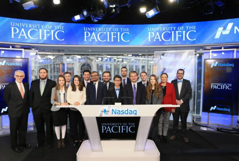 Pacific students at Nasdaq